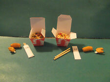 Barbie 1:6 Miniature Food Takeout Chinese Chopsticks Eggroll Fortune Cookie aa