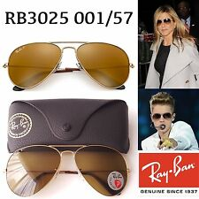 Ray-Ban RB 3025 001/57 Aviator Polarized Brown  Lens Gold Frame Sunglasses