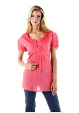 Crash Bluse Top von Cheer , Baumwolle  Crinkle - Look  Koralle / Pink  38-42NEU