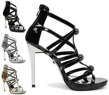 WOMENS HIGH HEELS STILETTO CUT OUT STRAPPY DIAMANTE PEEP TOE GLADIATOR SHOES