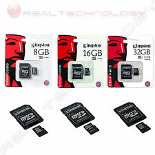 MEMORIA SECURE DIGITAL MICRO SD KINGSTON 8GB 16GB 32GB CLASSE 4/10 + ADATTATORE