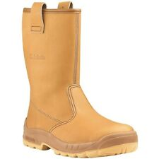 MENS JALLATTE JALARTIC JO257 TAN LEATHER RIGGER SAFETY WORK BOOTS SIZE 3 5 6