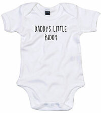 BIDDY BODY SUIT PERSONALISED DADDYS LITTLE BABY GROW GIFT