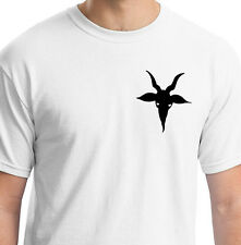 SATANIC EVIL RAMS HEAD WITH HORNS AND EYES WHITE T SHIRT ANIMAL GIFT BIRTHDAY