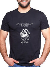 STAFF SERGEANT BY DAY PIRATE BY NIGHT PERSONALISED T SHIRT FUNNY