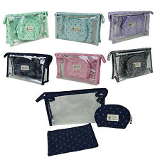 3 PCS Set Cosmetic Bag Travel Makeup Toiletry Pouch Zipper Natural Style