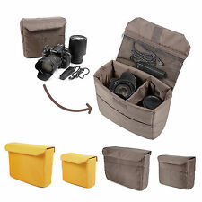 Yellow/Coffee DSLR SLR Camera Bag Partition Padded Insert Protection Case