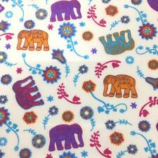 Printed poly cotton Elephants & Flowers WHITE 115cm sold by the metre DD