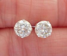 EARRING PAIR SILVER1.75TCW .875 CT VVS1 6.30MM WHITE H-I Color ROUND MOISSANITE