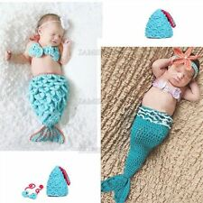 3Pcs Photo Prop Outfit Infant Knit Crochet Mermaid Clothes Newborn Baby Girl A