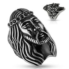 Seal ring made of stainless steel in silver-black with Jesus head and zirconia