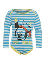 Baby Boys Mickey Mouse Long sleeved Babygrow Romper sleepsuit. Official Disney