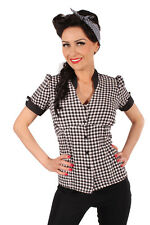 Retro 50s Gingham Country pin up rockabilly Karo Bluse schwarz