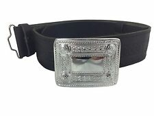 NEW Scottish Chrome Celtic Hide Embossed Leather Kilt Belt and Buckle Small - XL