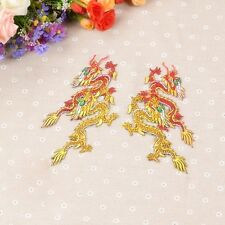 1 Pair Chinese Dragon Iron-on Patches Embroidery Fabric Motifs Applique Sewing