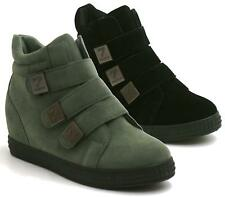WOMENS HIGH TOP WEDGE SNEAKERS TRAINERS LACE UP STICKY STRAP FLAT ANKLE BOOTS 3-