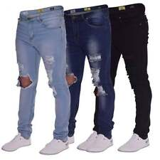 New Mens Skinny Jeans Extreme Open Rips Frayed Cutaway Knee Ripped Stretch Denim