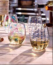 Acrylic Wine Glass Tumblers Set of 2 Summer By the Sea Theme Stemless Wine Glass