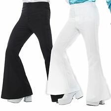 Black White Flared Trousers Mens 60s 70s Fancy Dress Hippy Flares Disco Costume