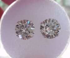 EARRING PAIR SILVER 2.00 TCW 1.00 ct  VVS1 6.90 mm ICY WHITE ROUND MOISSANITE