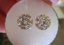 EARRING PAIR SILVER 2.28 TCW 1.14 ct  VVS1 7.10 mm ICY WHITE ROUND MOISSANITE