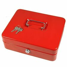 Security Safe Petty  Cash Box Money Bank Deposit Steel Tin  With 2 Keys & Tray