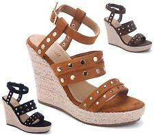 WOMENS LADIES STRAPPY STUDDED ESPADRILLE HIGH WEDGE HEEL SUMMER SANDALS SHOES