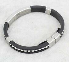 Trendy Boys' Men's Silver Stainless Steel Cuff Black Bangle Bracelet.