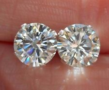 EARRING PAIR SILVER 1.90 TCW .95 ct  VVS1 6.75 mm ICY WHITE ROUND MOISSANITE