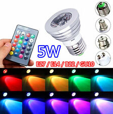 2/4/8 Pcs 5W RGB LED Bulb Light E14 E27 B22 GU10, 16 x Colours + Remote, Memory
