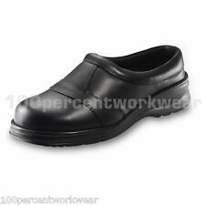 PSF 330 Work Safety Black Ladies Womens Leather Slip On Clogs Shoes Steel Toe