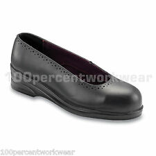 PSF 340 Black Leather Slip On Court Safety Work Shoes Steel Toe Ladies Womens