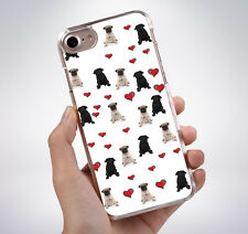 PUG LOVE HEARTS PATTERN Rubber Phone Case Cover Fits Iphone (TR)
