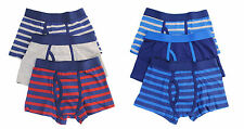 Boys Tom Franks Kids Striped Cotton Rich Boxer Shorts Trunk underwear 6 Pack