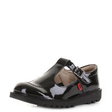 Kickers Junior Kick T Girls Patent Black Leather Mary Jane School Shoes Size