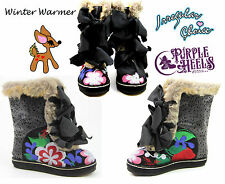 Irregular Choice Winter Warmer Fur Floral Bow Booties Black UK4 EU37