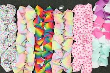 Large Hair Bow 6 Design Rainbow 12pcs Bows Dance girls accessories clips 8 inch