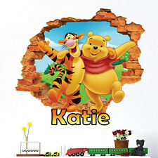 Children 3D Winnie the Pooh Wall Smashed Sticker name kid Bedroom Nursery Decals