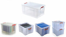 Whitefurze Reinforced Clear Plastic Multipurpose All Storage Box w/ Lid n Clamps