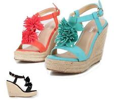 Womens Wedge Heel Strappy Shoes Slingback Peep Toe Espadrilles Sandals