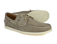 Timberland Classic 2 Eye Mens Cream Leather Lace Up Boat Deck Shoes 6366A