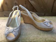 NEW DUNE LADIES BEIGE PEEP TOE HIGH WEDGE PLATFORM SLINGBACK SANDALS SIZE 8/41