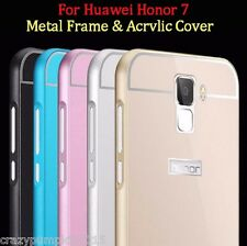 Acrylic PC Back Case Cover Aluminium Metal Frame Bumper For Huawei Honor 7