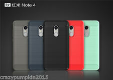 Shockproof Carbon Fiber Brushed TPU Soft Back Case Cover for Xiaomi Redmi Note 4