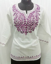 100% COTTON WOMEN GIRL EMBROIDERED CASUAL FORMAL TOP