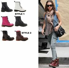 LADIES WOMENS LACE UP ANKLE BOOTS COMBAT CHUNKY MILITARY FASHION SHOES SIZE 3-8