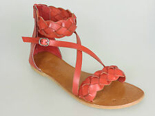 Why Not Ankle-strap sandal red leather Hot Coral N231006 NEW Size 37