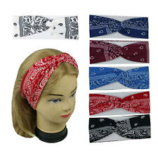 New Bandana Print Headband Yoga Hair Wrap Paisley Twisted Stretchable