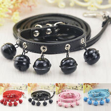 Pet Dog Adjustable Collar and Lead Leash Set with Bell Cute For Small Puppy Cat