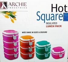 HOT SQUARE 1- 4 LAYER INSULATED LUNCH BOX TIFFIN BOX HOT/COLD FOR LONGEST PERIOD